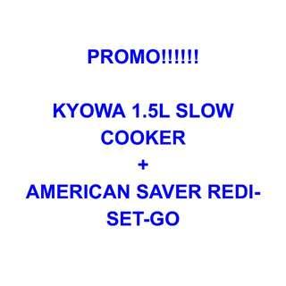 Kyowa Slow Cooker + American Saver Redi-Set-Go + FREE SHIPPING