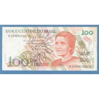 1990 Brazil 100 Cruzeiros UNC $2