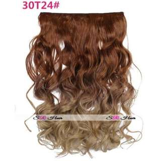 5 Clips Curly Ombre Flaxen to Ash Light Blonde Hair Extensions