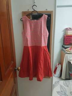 BN red stripes and polka dots dress