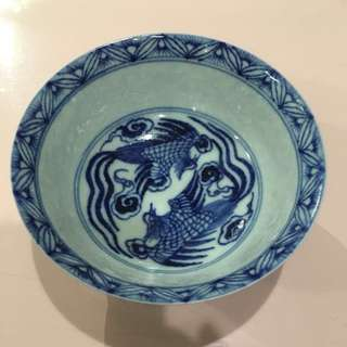 Yuan/Ming Period Blue & White Phoenix Bowl