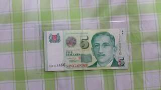 $5 notes triple 6 end sign by LHL with an additional no. 5 logo.