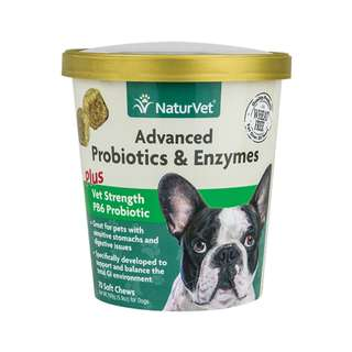 NaturVet Advanced Probiotics & Enzymes Soft Chews Dog Supplement 70 ct