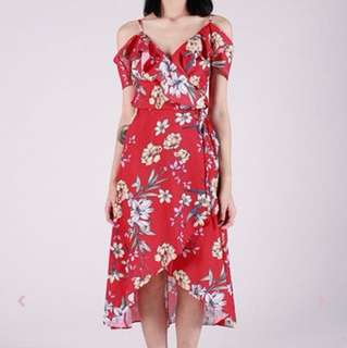 DELIA WATERFALL OFF-S DRESS (RED)