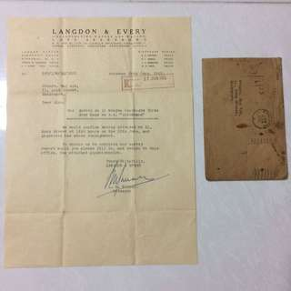 Old Vintage Document - Letter of Inspection Dated 27th Jun 1953 with Envelope (without stamp)
