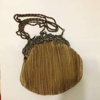 絕美古董緞面古銅黃兩用包