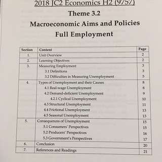 TJC H2 Econs full employment notes