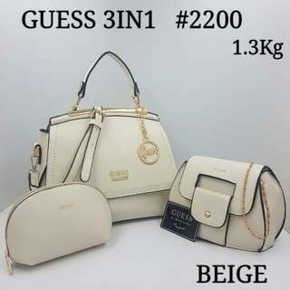 GUESS 3 IN 1 Handbag Beige Color