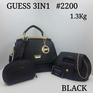 Guess 3 in 1 Handbag Black Color