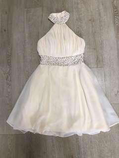 Beige halter neck, bareback dress
