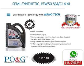 PLATINUM OIL LUBRICANT - SEMI SYNTHETIC 15W50 ZFT FORMULA NANO TECH