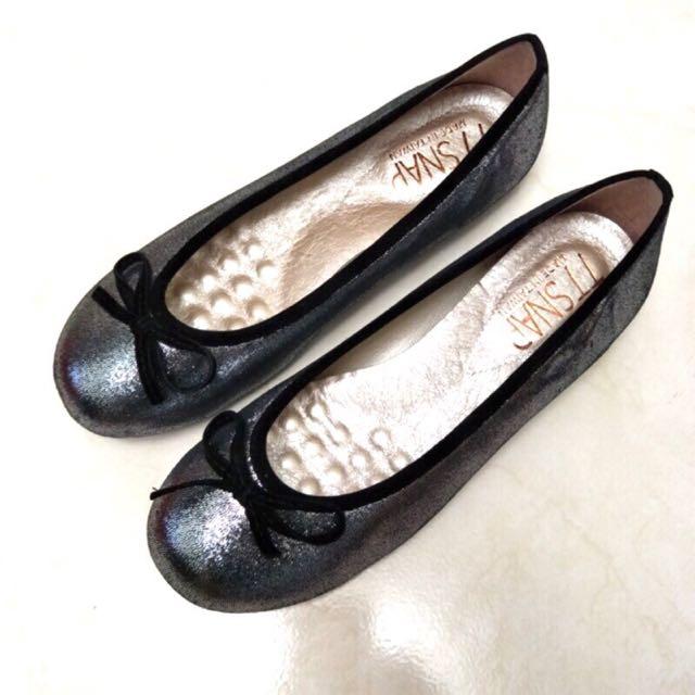 24cm EUR38 US7 真皮小羊皮蝴蝶結柔軟Q平底鞋 二手