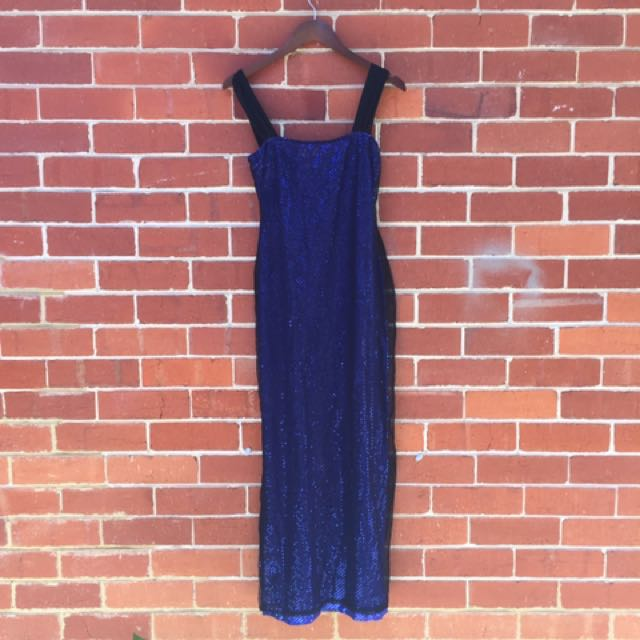 90's Blue disco black mesh Maxi