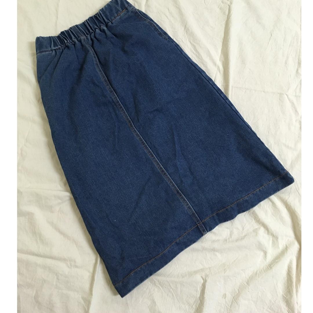 深藍牛仔窄裙長裙