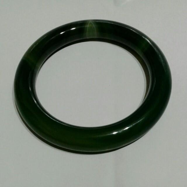 天然深綠瑪瑙手環   85號