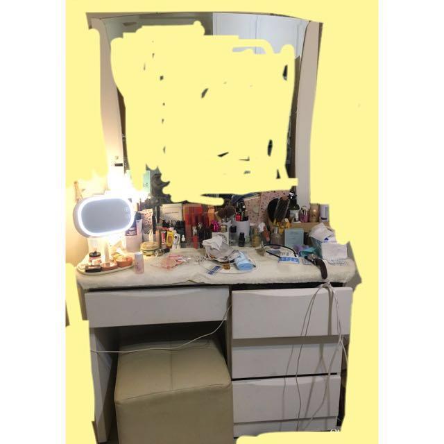 全白實木化妝鏡台