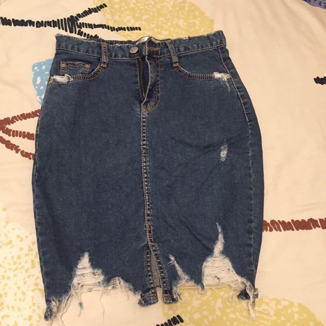 韓製牛仔短裙