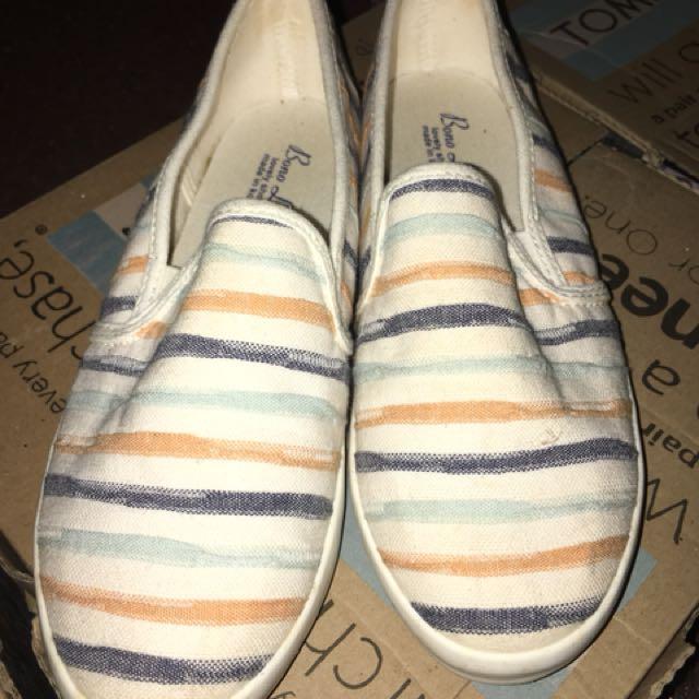 條紋平底鞋
