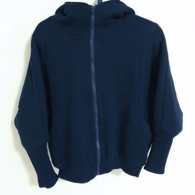 深藍厚連帽刷毛外套