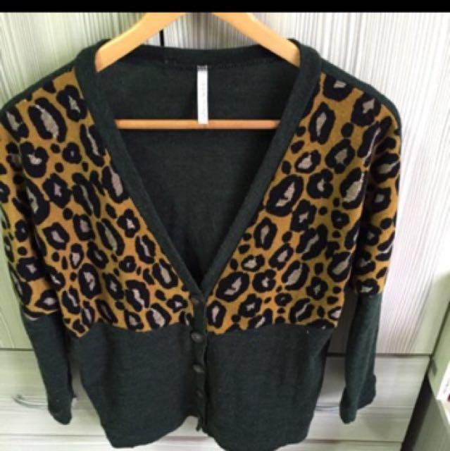 古著 豹紋針織外套
