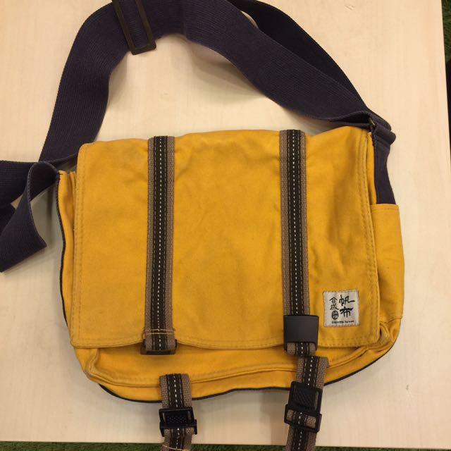 台灣自創品牌 合成帆布書包側背包