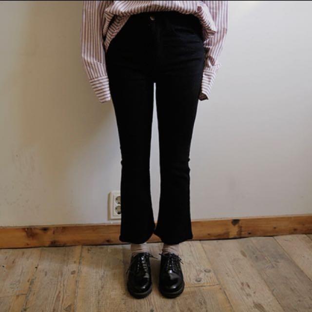 韓國網拍 黑色喇叭筒長褲 顯瘦 L