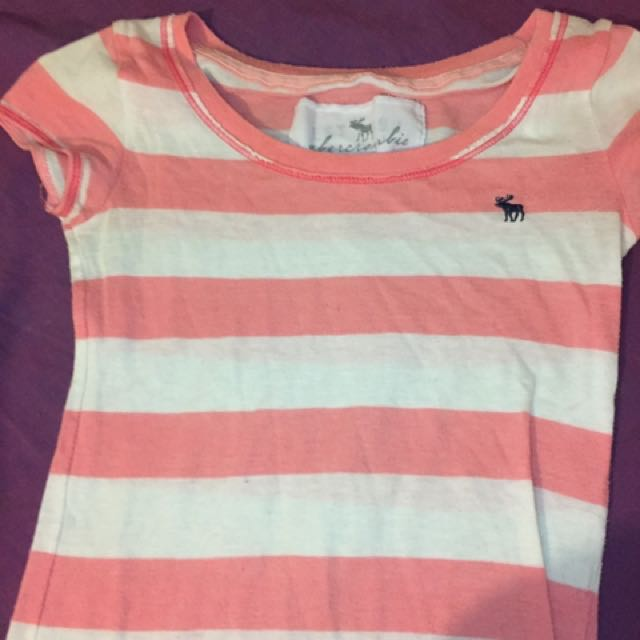 Abercrombie and fitch pink striped logo tshirt