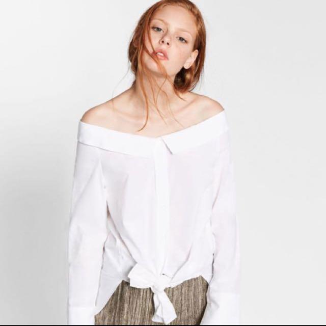 Authentic Zara button down off shoulder oxford shirt #feb50