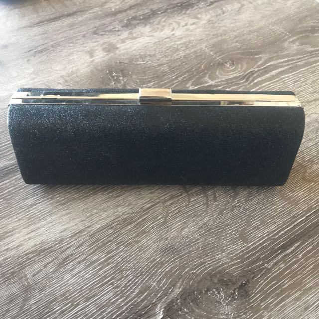 Black sparkle Colette Tube Clutch