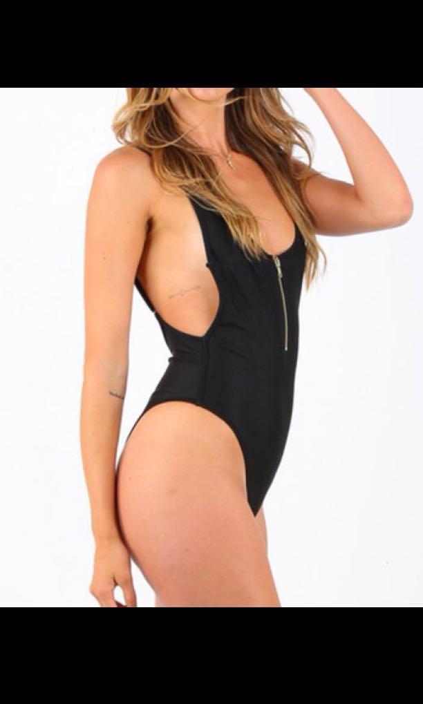 black zipped low back swimsuit