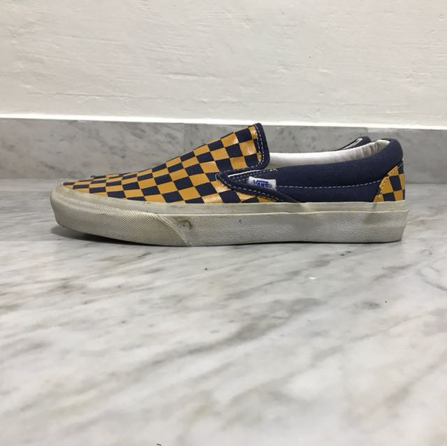 Blue and Yellow Checkered Vans Slip On