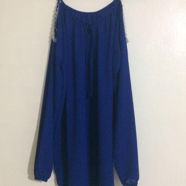 Blue cold shoulder blouse