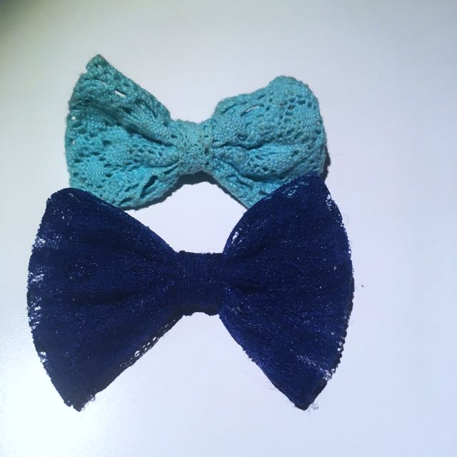 Blue Hair Bow Clips