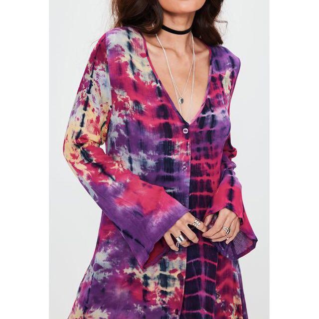 BNWT Festival tie dye button down shirt dress
