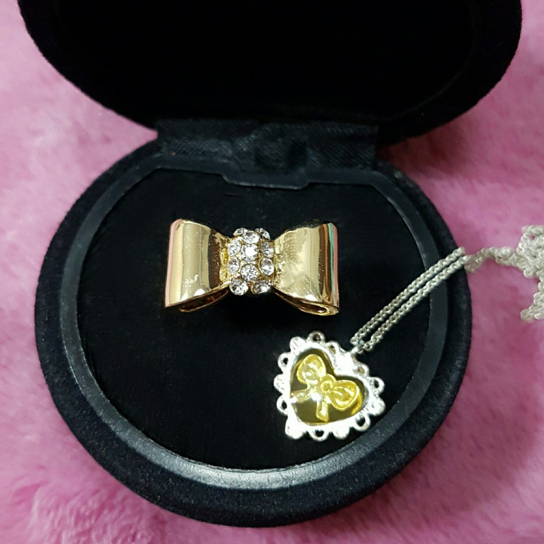 Bow and Heart Necklace and Ring Set
