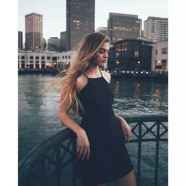 Checked navy dress
