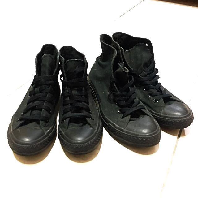 Converse 男/女全黑高筒 帆布鞋 會先拿去送洗才會寄出哦