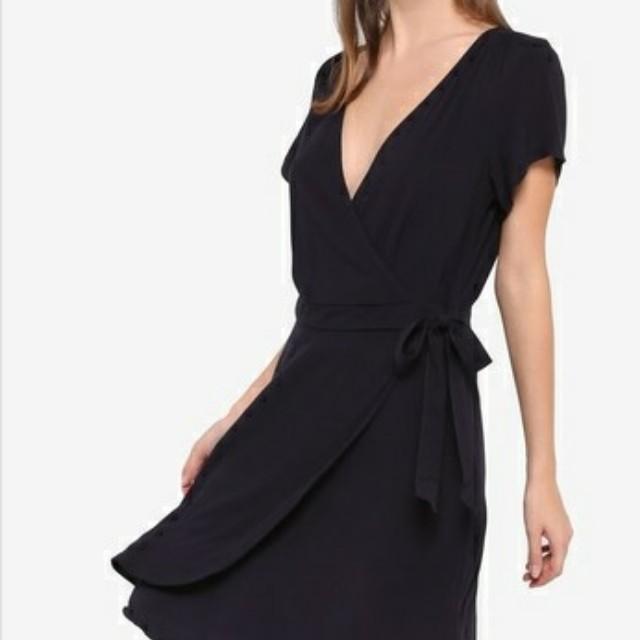 Cotton On Wrap Dress Black