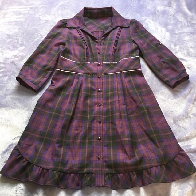 cynthia rowley 紫色格紋洋裝