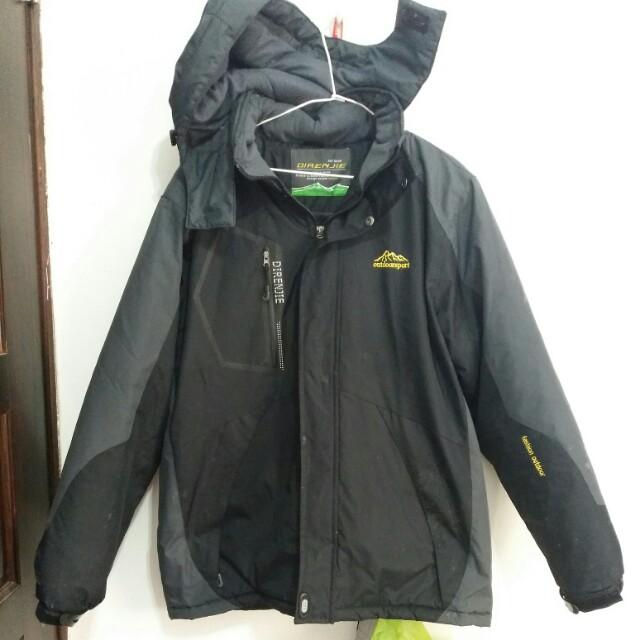 DIRENJIE黑灰色防風鋪毛超保暖機能外套