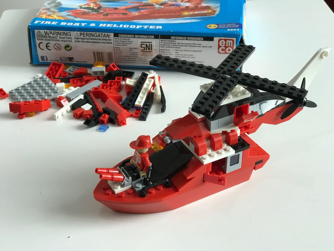 Emco fire boat and helicopter
