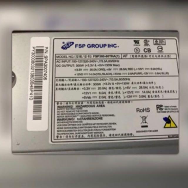 宏FSP300-60THA電源供應器/SATA*4/大4PIN*2/拆機良品