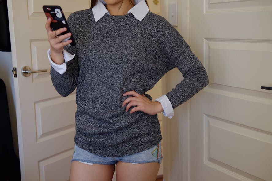 Grey Knit with Collar