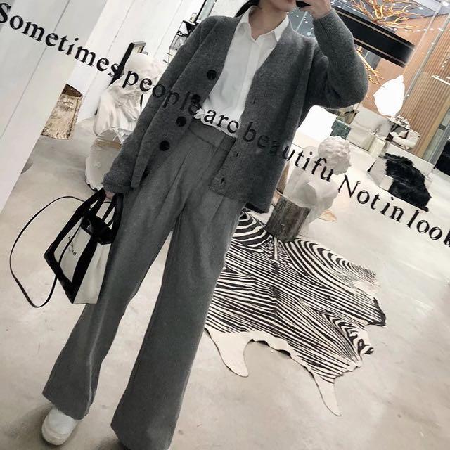 Grey woollen pants