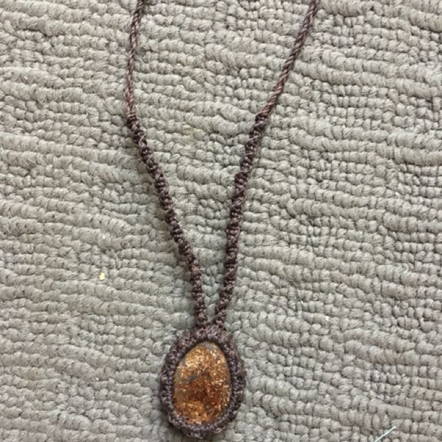 Handcrafted macrame stone necklace