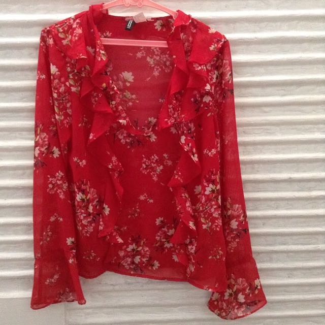 H&M Floral Ruffle Top