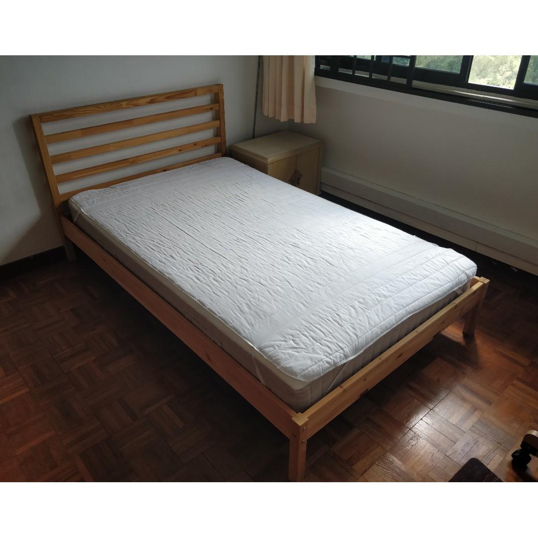 ikea tarva super single bed frame with hafslo mattress, furniture
