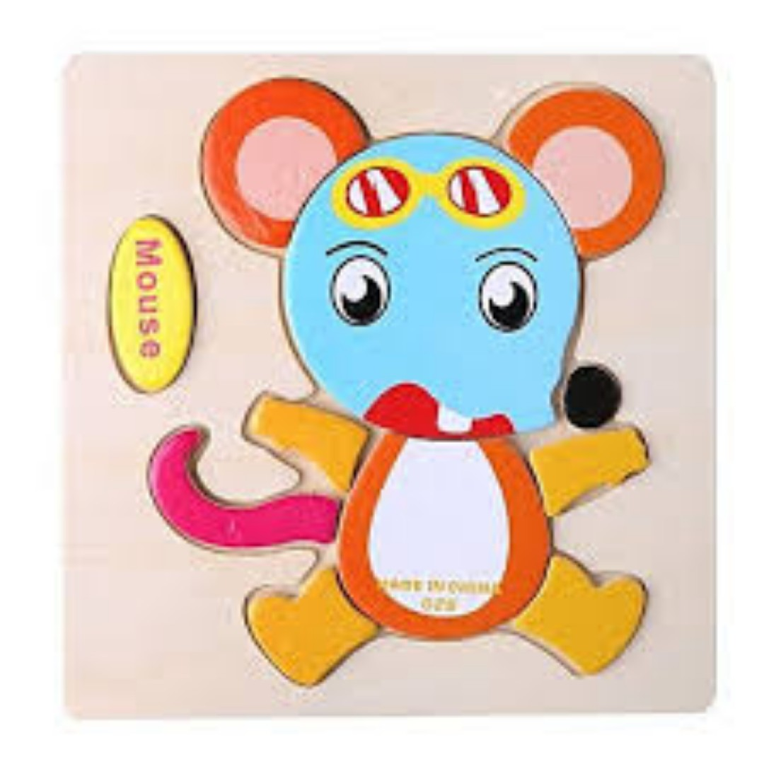 Kids Cartoon Animals Dimensional Jigsaw Puzzle (Mouse)