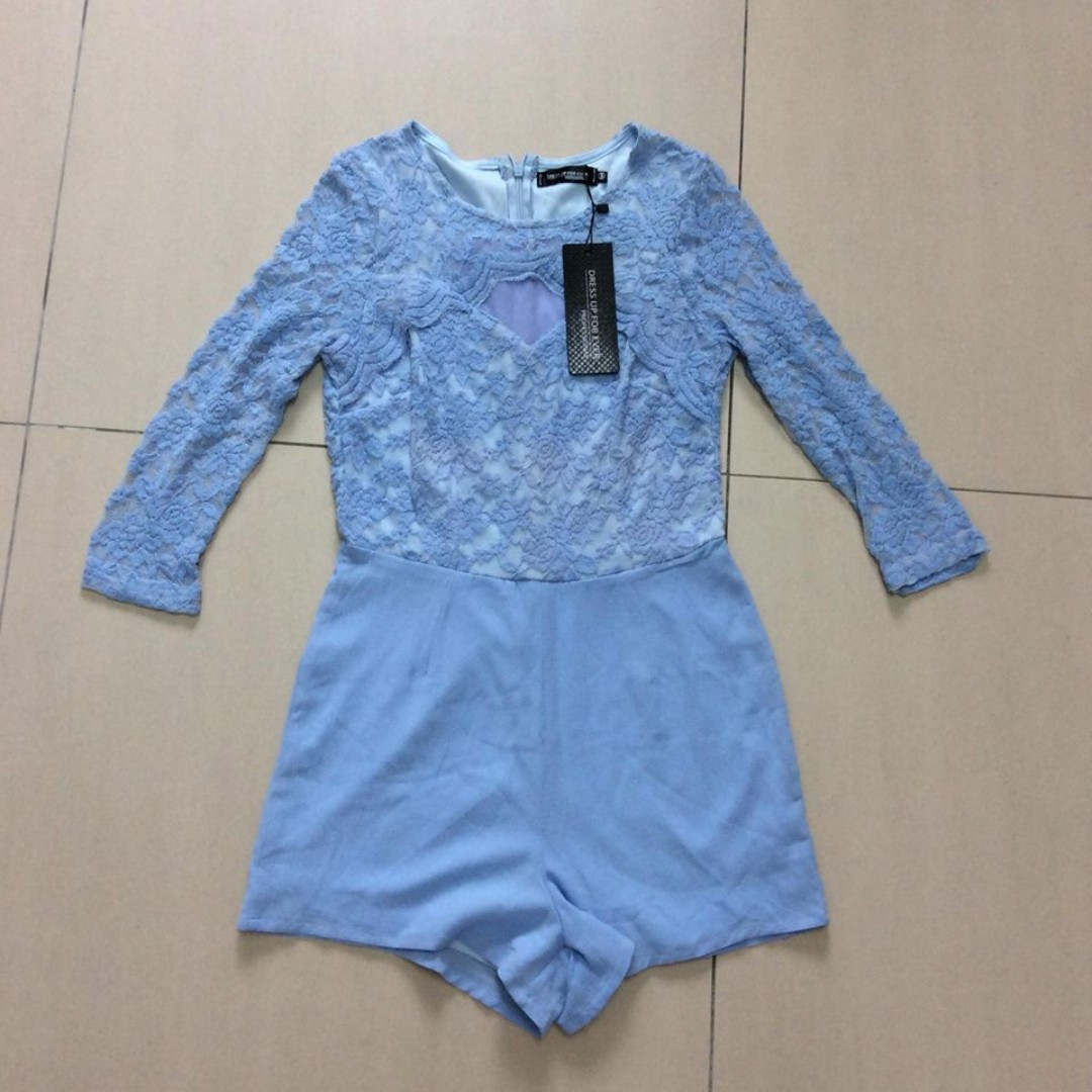 Korea Baby Blue Lacey Romper