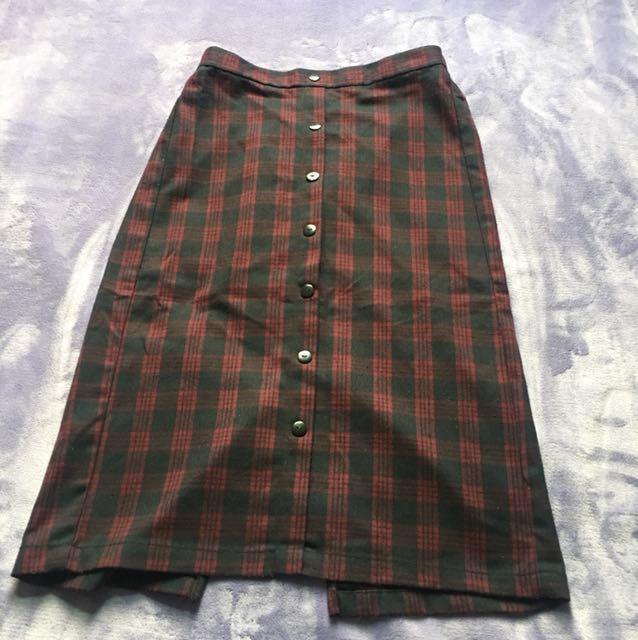 Lativ經典格紋裙-M號